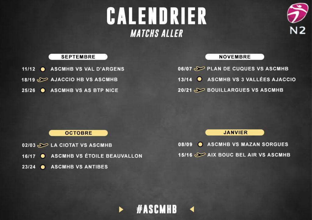 Calendrier N2F - Matchs aller
